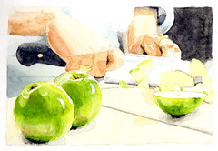 Chef Cutting Apples (lwdphoto) Tags: lance duffin lanceduffin watercolor painting art chef apples knife bambara restaurant saltlakecity utah foodieproject food foodie