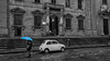 fiat museum and rain- (jdl1963) Tags: travel italy florence firenze tuscanny bw black white blackandwhite mono monochrome fiat 500 classic rain blue umbrella street outdoor