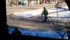 Winter cycling - HWW 365/133 (Maenette1) Tags: winter cyclist snow window menominee uppermichigan happywindowswednesday flicker365 michiganfavorites project365 reid