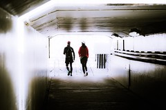 Father and daughter (Kame-rameha) Tags: underground street people father daughter walking light shadow trekking elevation ngc red