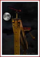 Nightshift Maybe (Deek Wilson) Tags: harlandandwolff samson goliath hw belfastshipyard landmark gantrycrane belfastgiant krupp moon queensisland nightshift nightphotography photoshop