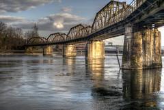 Eisenbahnbrücke über die Aare, Kanton Aargau, Schweiz