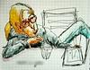Cléclé au goûter. (cecile_halbert) Tags: dessin croquis crobard encre aquarelle carnet artist sketching sketch sketchbook artbook artdiary croquissurlevif usk character draw drawing ink watercolor journal journaling
