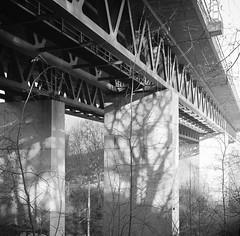 Vaihingen Viadukt, Stuttgart (geojpix) Tags: 120 6x6 analog bessa66 blackwhite film mf mediumformat neopan100acros rodinal skopar stuttgart viadukt bwfp badenwürttemberg deutschland de