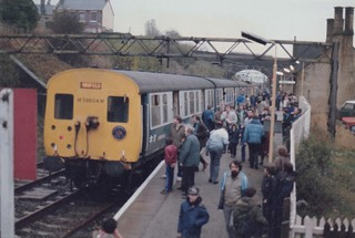 Class 506 EMUs known as Hadfield units N°4 and 6 are seen at Hadfiled working a special charter excursion on the 17th November 1984 bis