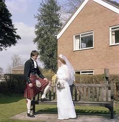 Bride and groom (vintage ladies) Tags: wedding 341982 1980s 1982 pretty bride weddingdress female woman lady lovely brideandgroom groom kilt portrait photograph photo