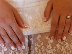 """""""White on white""""!!  P1000519 (amalia_mar) Tags: whiteonwhite justacrazyday weeklythemes white hands nails dress lace ring weddingdetails sundaylights"""