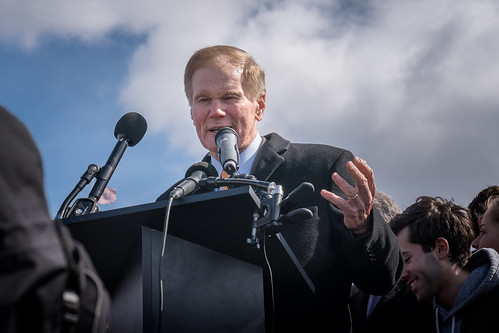 Senator Bill Nelson speaking in front of the US Capitol, part of National Walkout Day