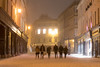 The High Street at night in snow, with people walking (Ian Redding) Tags: central worldheritage restaurants peaceful street walking corridor quiet snow lights road british uk highstreet night eating england winter shopping restaurant people city litup evening somerset unesco columns silhouettes beautiful bath windows shops sixpeople snowy group weather white snowing