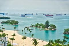 Siloso Beach on Sentosa island, Singapore (UweBKK (α 77 on )) Tags: siloso beach sentosa island sand water sea straits palms tourist singapore southeast asia sony alpha 77 slt dslr