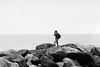 Aron, Shoreham Port 2017 (sparetimedesign) Tags: horizon iso1600 monochrome analog sea people seaside sky 35mmfilm trix400 nikonfa film kodak