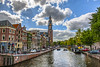- Westerkerk Tower - 8383-12 (zayaspointofviewphotography1) Tags: amsterdam netherlands tower canal prinsengracht annefranks houseboats clouds