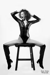 Scream (Dennis Martin Photography) Tags: bw bnw studio catsuit emotion spider bodysuit nikond800 photoshoot beauty portrait stool latex ebony model skinny boots blackandwhite scream