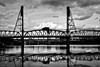 Hawthorne Bridge (Bruce vdS) Tags: portland oregon hawthornebridge river willametteriver reflections bw blackandwhite monochrome on1photoraw2018 contrast highcontrast clouds cloudy lowkey underexposed