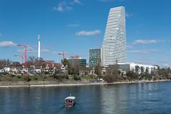 Roche Tower in Basel (Switzerland) (JBGenève) Tags: switzerland basel city architecture heritage buildings rhine river water roche tower rochetower herzogdemeuron
