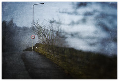 Long Wall in Mist (texture) (Father Pie) Tags: 30 roadsign blur lensbaby texture edge50