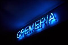 Neon Light Cremeria (fabio.mattutino) Tags: cremeria ice cream shop blue neon light luci summicron 50 bessa r3m