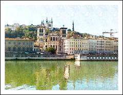 Lyon, exercice de style (busylvie) Tags: photo peinture aquarelle couleurs eau reflets monuments architecture quaidesaône lyon france cathédralestjean fourvière