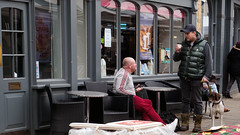 Being Human: Coffe and a Chat (Mike Cook 67) Tags: infocus oneface longshot highquality hertfordshire hertford salisburysquare bebo panasonicgx7 street photography fun dog