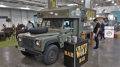 Like Land Rovers & Beer - This is the Car For You. (ManOfYorkshire) Tags: r470kaw landrover defender green defender110 exarmy ambulance converted modified drinks dispenser bar mobile party event show exhibit display onshow idealhomeshow theidealhomeshow 2018 1997 2500cc 25litre diesel engine craftywolf