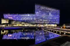 Harpa, Reykjavik - HBM (Jo Evans1- trying to catch up!) Tags: harpa concert hall reykjavik iceland iconic structure nighttime coloured lights along facade bench monday hbm reflections