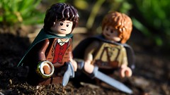 """What shall we do, Mister Frodo?"" (RagingPhotography) Tags: lego lord rings lotr frodo baggins samwise gamgee sam mister mr middle earth middleearth journey outside outdoor outdoors bright colorful contrast sunny cool dirt soil weapons weapon one ring rule them all sauron photo shot angled angle mordor jrr tolkien ragingphotography"