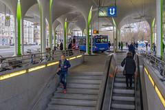 """Platz """"Münchner Freiheit"""", München (Janos Kertesz) Tags: bus metro stairs münchen munich bavaria bayern ubahn münchnerfreiheit rolltreppe transportation city station travel business transit transport urban people platform"""