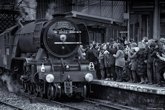 "The "" Flying Scotsman"" fan club (Pensioner Percy, very slow at the moment) Tags: d7100 flyingscotsman carlisle nikon 18140mm trains nikon18140mm monochrome blackandwhite pensionerpercy crowd people fanclub steamtrain railwaystation 60103 steam cumbria railtouringcompany locomotive engine train nikkor"