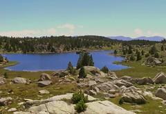 """Beautée sauvage !  """"Pyréneés-Orientales - France""""   -   Wild beauty! (josianelavielle) Tags: lac rochers pierres sapins herbages ciel montagnes paysage nature"""