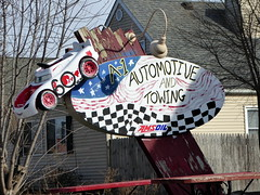 A-1 Automotive and Towing (yooperann) Tags: auto car repair tow shop sign red wheels morris grundy county illinois