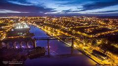 Drogheda at twilight (mythicalireland) Tags: boyne viaduct drogheda railway bridge river lights town sky twilight dusk blue hour aerial air drone dji phantom 3 advanced landscape city townscape