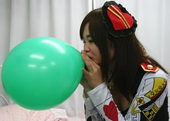 That's A Good Party Girl. (emotiroi auranaut) Tags: girl pretty nice lovely beauty beautiful saint patricks day party blow blowing green balloon decoration toy breathe breathing cute adorable plan planning fun teen teenager charming air helping helpful prepare preparing grow growing big bigger sweet