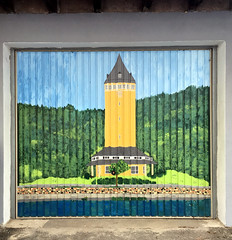 Quellenturm (roomman) Tags: 2018 germany rlp rheinlandpfalz rheinland pfalz koblenz lahn lahntal valley lahnvalley quellenturm door art paint painting garagenkunst kunst design bad ems badems quelle well srping spa tower turm