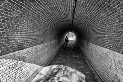into the light (stevefge) Tags: lent fort nederland netherlands nl gelderland tunnel people candid women brick perspective zw zwartwit monochrome blackandwhite bw reflectyourworld nederlandvandaag abandoned unsuspectingprotagonists