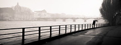 Untitled (LoKee Photo) Tags: lokee lowkey black white monochrome paris silhouette quais seine river brige cityscape city urban street snow umbrella fuji x100s