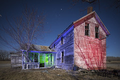 Abandoned Home in RGB (Notley Hawkins) Tags: rural missouri notley notleyhawkins 10thavenue httpwwwnotleyhawkinscom missouriphotography notleyhawkinsphotography lightpainting bluelight greenlight blue night nocturne 光绘 光繪 lichtmalerei pinturadeluz ライトペインティング प्रकाशपेंटिंग ציוראור اللوحةالضوء abandoned sky longexposure ruralphotography trees chartitoncountymissouri windows outdoor serene architecture house riverbottoms missouririverbottoms home 2018 march facade shadows rgb redlight