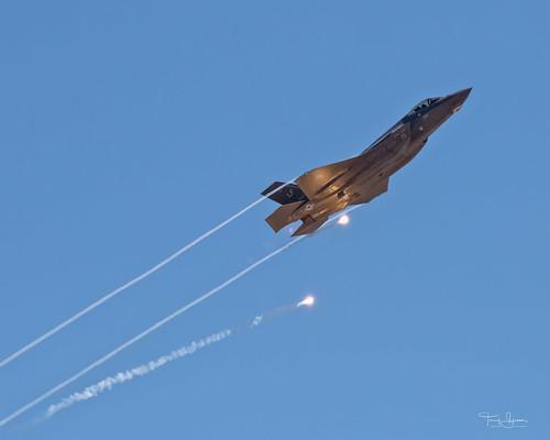 United States Air Force Lockheed Martin F-35 Lightning II popping flares at the 2018 Luke Days, Luke Air Force Base, Glendale Arizona