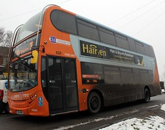 The Grime of 628 (timothyr673) Tags: nottinghamcitytransport nct nctroute36 orange go2 bus scania n230ud adl alexanderdennis e400 enviro400 snow 628 yn14muw orangeline