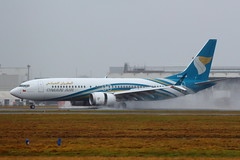 New MAX (A4O-MB) (Fraser Murdoch) Tags: a4omb a4oma mb ma a4o oman air boeing 737 max 9 8 glasgow international airport egpf gla fraser murdoch photography aviation transport aircraft delivery new seattle field kbfi bfi oma wy scotland rain spray runway 05 landing arriving muscat