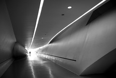 (cherco) Tags: woman arquitectura light luz architecture bridge lonely lines lineas zaragoza loner alone solitario solitary silhouette silueta shadow sombra urban urbano future futuro blackandwhite blancoynegro composition composicion canon city ciudad chica sony