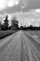 Long Dirt Road - BW (Gorgons Eye Media) Tags: dirt dirtroad offroad barn blackandwhite bw monochrome merrill michigan puremichigan michiganphotography nikon nikond3200 d3200