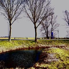 Panorama View Countryside (CloudBuster) Tags: meadow weilanden groen green countryside platteland friesland water open view uitzicht farms boederijen shadows schaduwen black white zwart wit