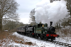 SVR double header (Andrew Edkins) Tags: doubleheader 1450 7752 14xxclass panniertank greatwestern gwr preservedrailway canon railwayphotography travel trip tankengine highleybank shropshire england uk march 2018 spring severnvalleyrailway trees geotagged light