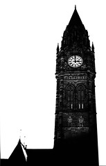 Rochdale Town Hall (Missy Jussy) Tags: silhouette blackwhite blackandwhite bw mono monochrome white rochdale town rochdaletownhall tower clock historical building lancashire composition canon canon5dmarkll 5d canoneos5dmarkii 50mm ef50mmf18ll ef50mm canon50mm fantastic50mm primelens fixedfocallength