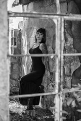 Tara Danielle at Encino (Mitch Tillison Photography) Tags: beautiful stunning gorgeous brunette goth gothic raven lass nikon photo shoot photography ghost town abandoned mitchtillison flashpoint 600 02459 d810 tamron 70200 tattoo