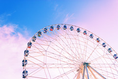 Ferris Wheel Over Blue Sky (lijphoto) Tags: wheel carnival day festival fair outdoor carousel ride sky blue entertainment red holiday fairground fun circle ferris park mother vintage summer background artwork color wedding old paper vivid love abstract anniversary art artistic book cardboard decorative enjoy ferriswheel grunge pink recreational scratched seats shabby texture travel turquoise wallpaper spin turn
