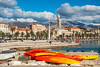 Postcard from Split (fotofrysk) Tags: riva parade people tourists locals tower cathedraltower palmtrees mointains clouds sky harbour canoes gradskaluka baydiocletians palaceroman fortressold stonesistriamontenegro road tripbuildingsarchitecturecroatiasplitadriatic coastdalmatian coastsigma 1750mm f28 ex dc ox hsnikon d7100 201710079762