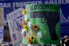 'Blossoms, Not Bullets' (Greatest Paka Photography) Tags: protest rally marchforourlives sanfrancisco civiccenterplaza flowers sign message