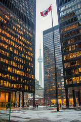 Click to enlarge the view of the Financial District (A Great Capture) Tags: financial district cn tower streetphotography streetscape photography streetphoto street calle snow neige schnee snowing scenery scenic sky himmel ciel flag canadian leaf maple agreatcapture agc wwwagreatcapturecom adjm ash2276 ashleylduffus ald mobilejay jamesmitchell toronto on ontario canada photographer northamerica torontoexplore winter l'hiver 2018 snowy torontodominion centre king bay td buildings bronze tinted glass