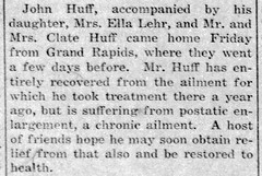 1915 - John Huff returns from Michigan sanitarium - Enquirer - 22 Jul 1915